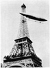 Santo's No. 6 airship rounds the Eiffel Tower.